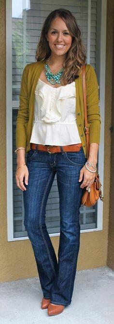 Mustard yellow cardi, blouse & medium rinse bootcut jeans outfit