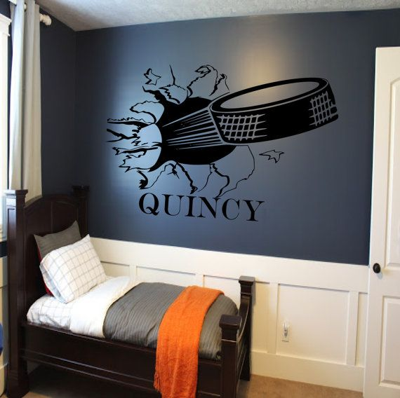 Custom Hockey Puck Bursting Through Wall Decal   Custom Sports Decal,  Hockey Decal, Custom Wall Decals, Wall Decal, Kids Room Decor