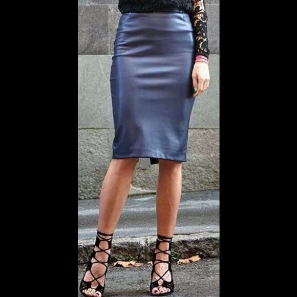 bf547ee4a7 Zara faux leather navy blue skirt Zara faux leather midnight blue pencil  skirt. Zara Skirts Midi