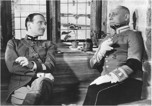 Mise en scene:   Capitan Boldieu and  Von Rauffestein  The grand illusion by jean Renoir