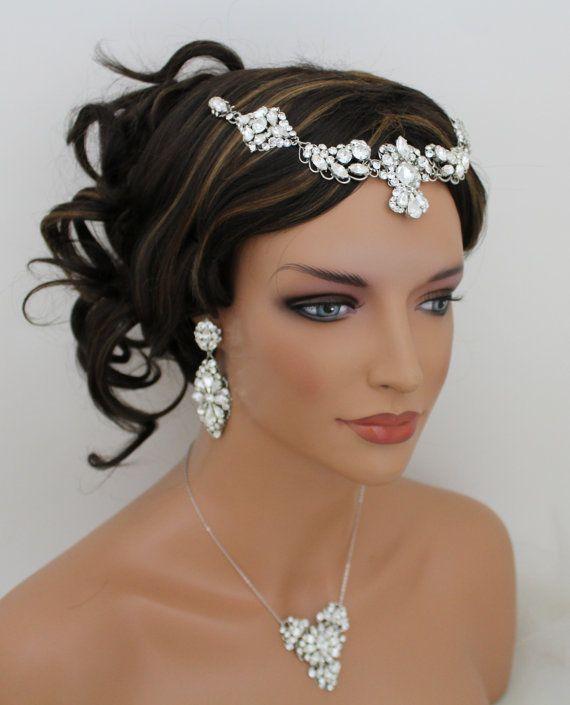 Rhinestone Wedding headpiece Bridal forehead band by treasures570