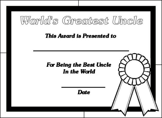 Printable Certificates For Uncles World S Greatest Uncle Coloring