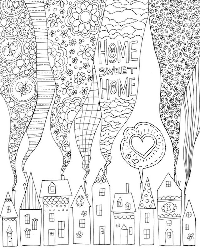 Home Sweet Home Color Me Coloring Canvas Coloring Canvas Book Artwork Color