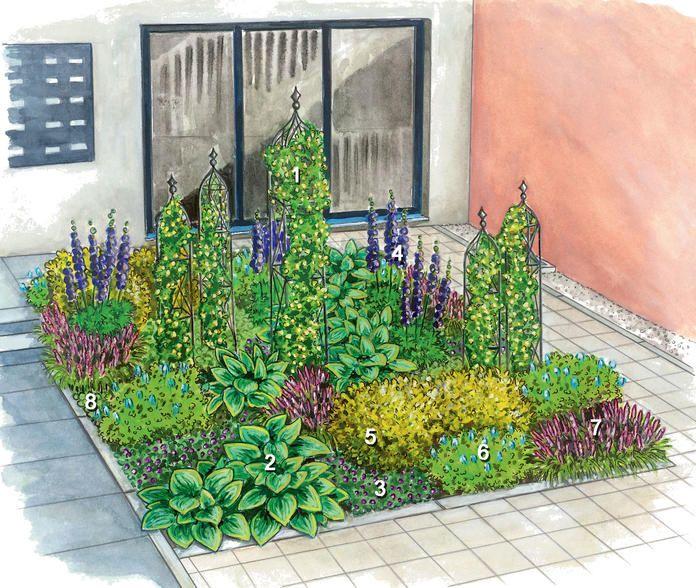 vorgarten garten halbschatten pflanzen bepflanzung. Black Bedroom Furniture Sets. Home Design Ideas