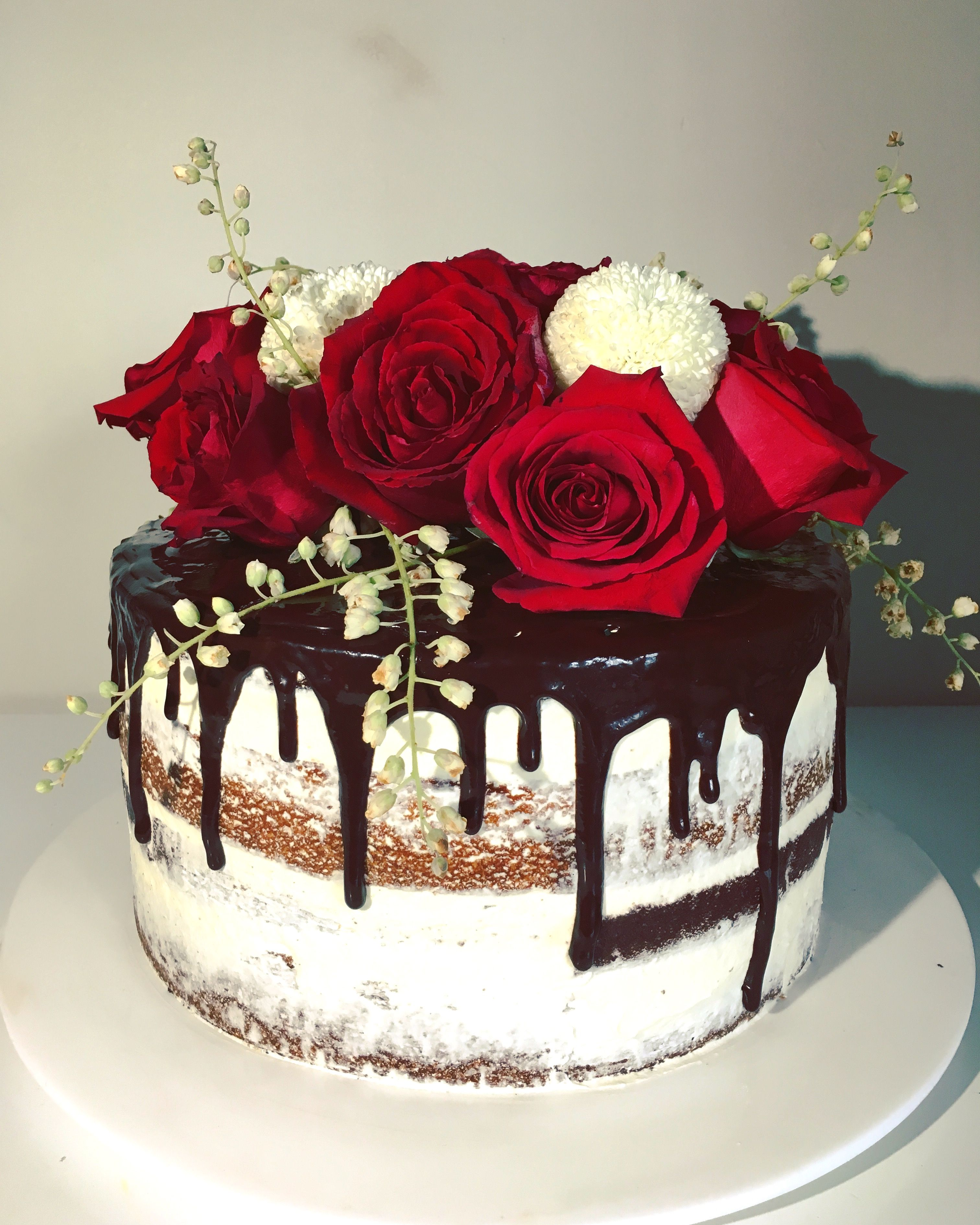 Classic Naked Cake With Red Roses And A Dark Chocolate Drip 23 Birthday 25th