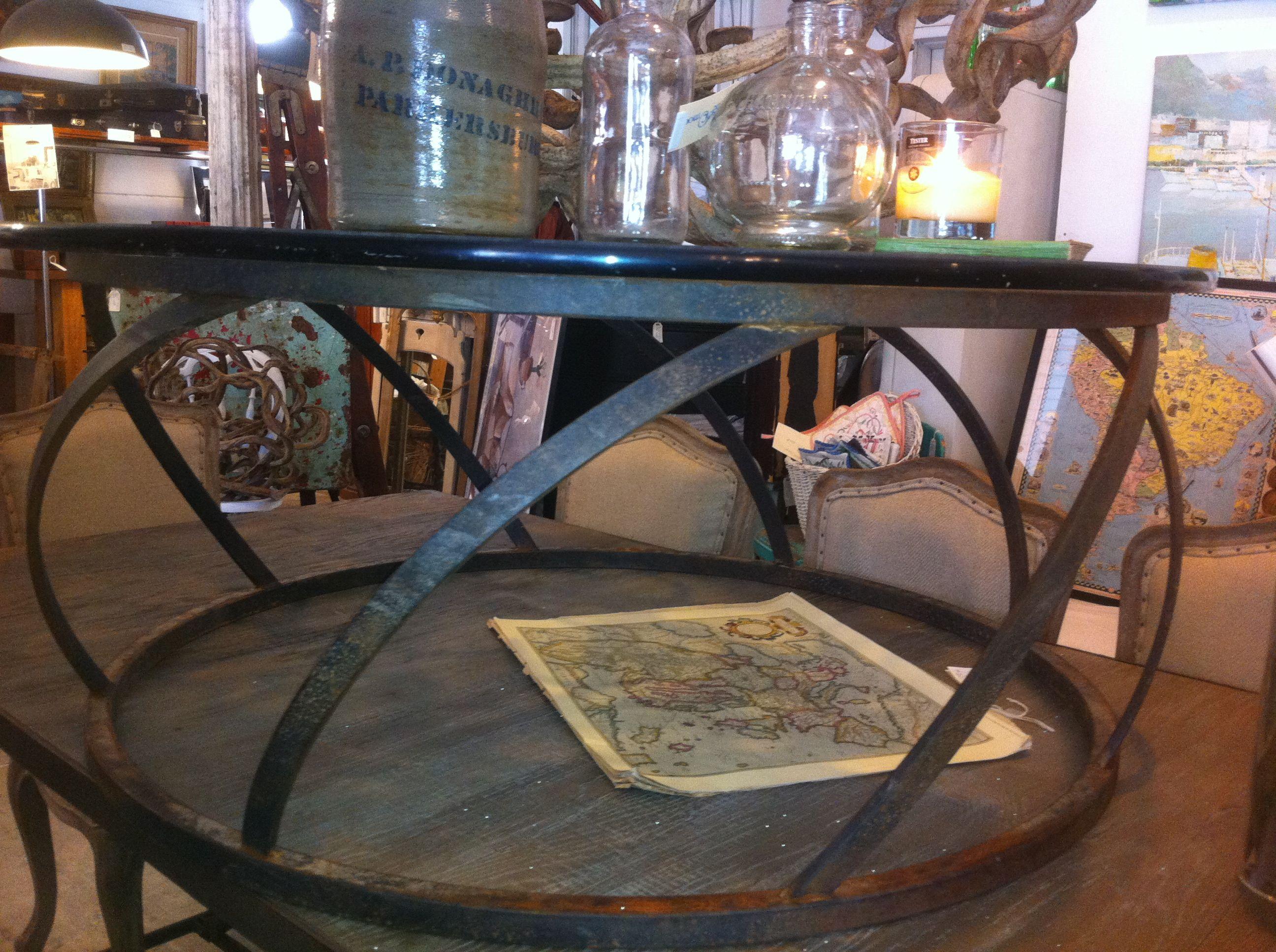Living Room Decorative Black Brushed Metal Coffee Table