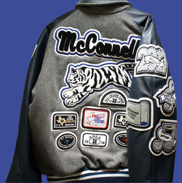 Letter Jacket With Custom Tiger Name Patch And A Large Amount Of Custom Chenille Patches All Created At Ww Varsity Letterman Jackets Letterman Jacket Jackets