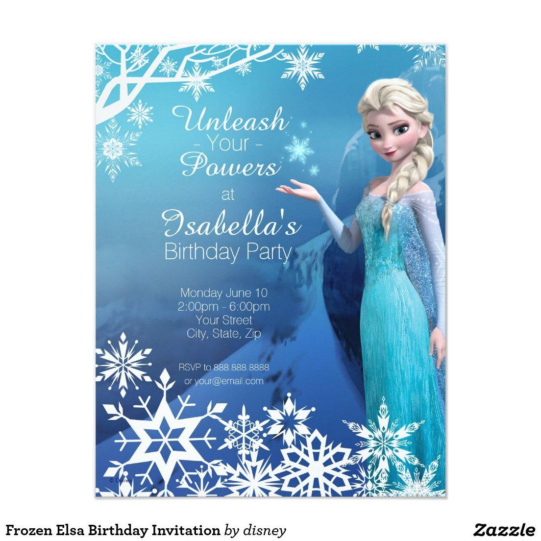 Frozen Elsa Birthday Party Invitation | Elsa birthday invitations ...