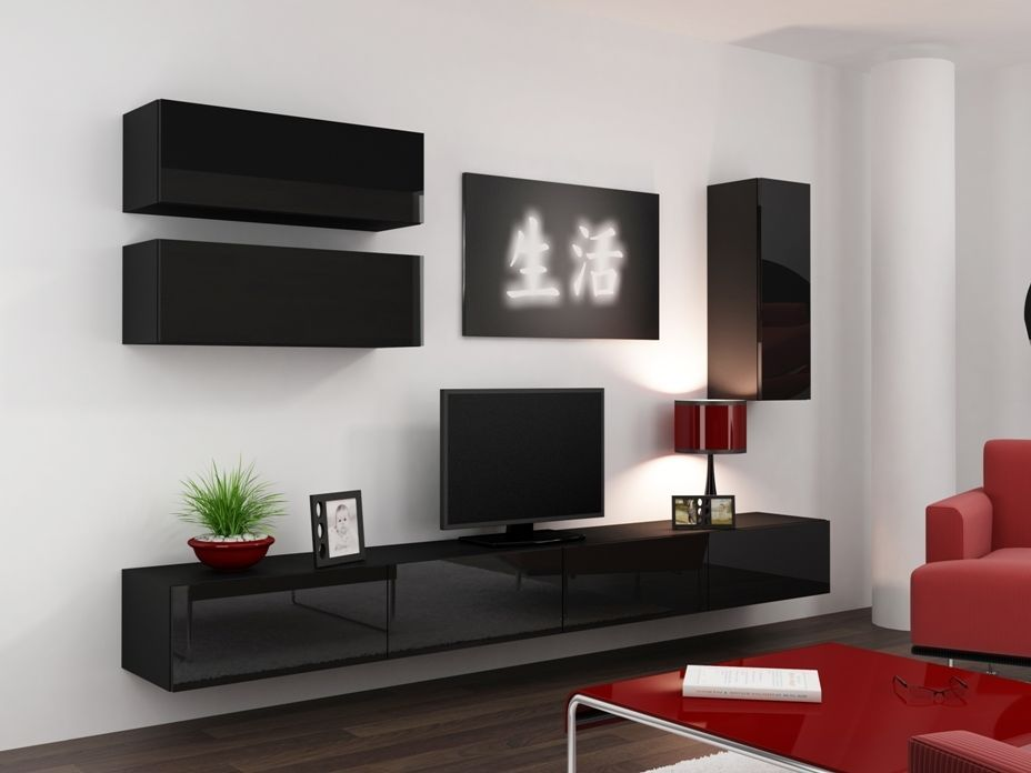 Details About HIGH GLOSS TV CABINET TV WALL UNIT TV STAND - Tv wall units ebay
