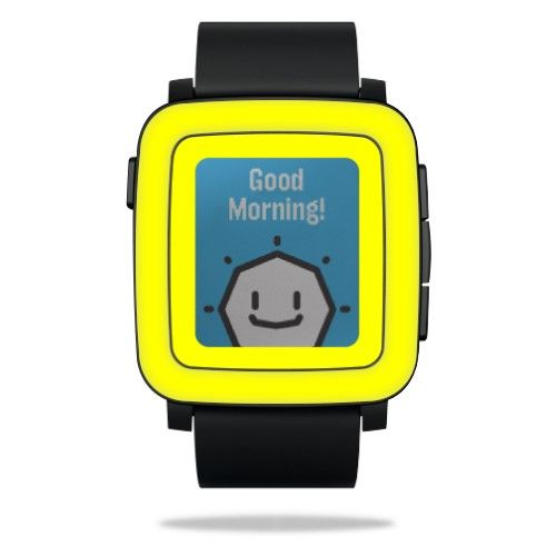Skin Decal Wrap for Pebble Time Smart Watch cover sticker Solid Yellow