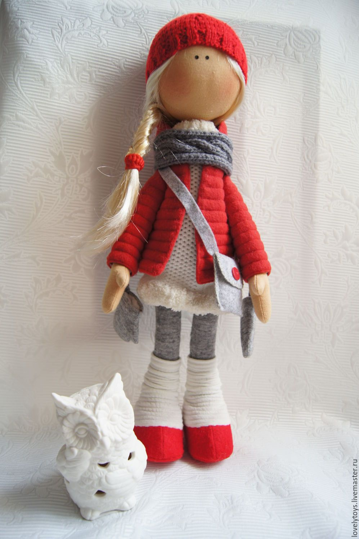 Купить текстильная кукла - ярко-красный, кукла ручной работы, кукла в подарок, кукла интерьерная
