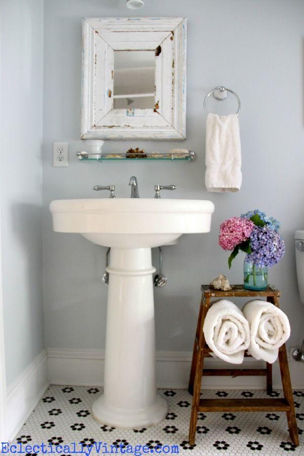 Bathroom Storage Ideas Love This Old Ladder Powder Room Design - Rolled bath towel rack for small bathroom ideas