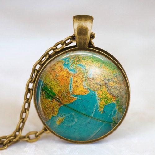 Globe necklace earth globe pendant globe art pendant teacher globe necklace earth globe pendant globe art pendant teacher gift world travel adventurer world map globe jewelry gumiabroncs Gallery