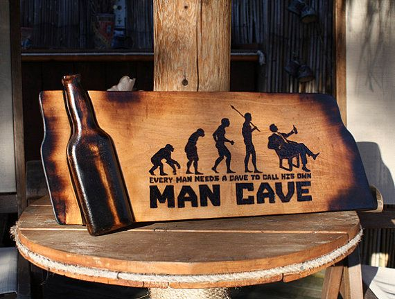 Man Cave Beer Bar : Man cave sign pyrography art bar wooden beer