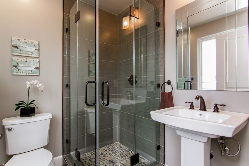 Bathroom Design Centers Stunning Contemporary 34 Bathroom With Custom Shower Door Wall Sconce Inspiration