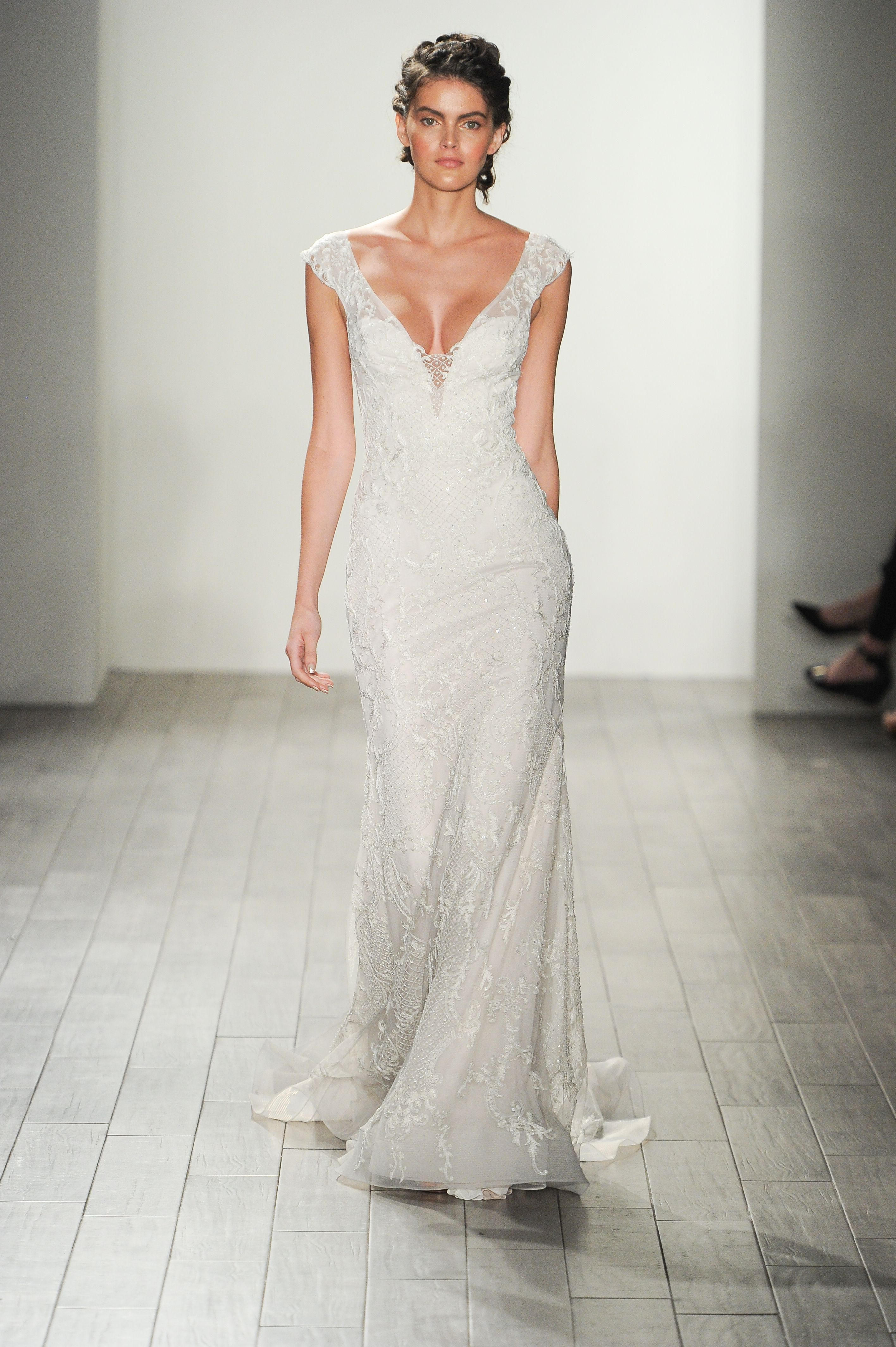 Cowl back lace wedding dress  These Are the Prettiest Wedding Dresses from Fall  Bridal Week