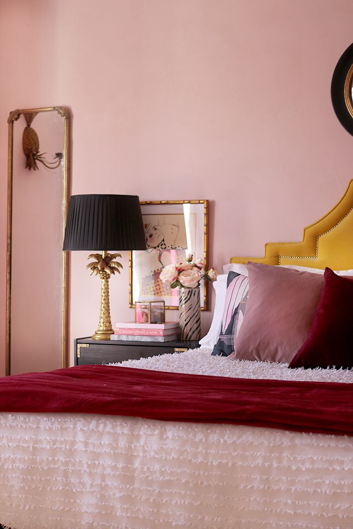 How I Ve Styled My Blush Pink Master Bedroom For Now Pink Bedroom Decor Burgundy Bedroom Pink Bedrooms