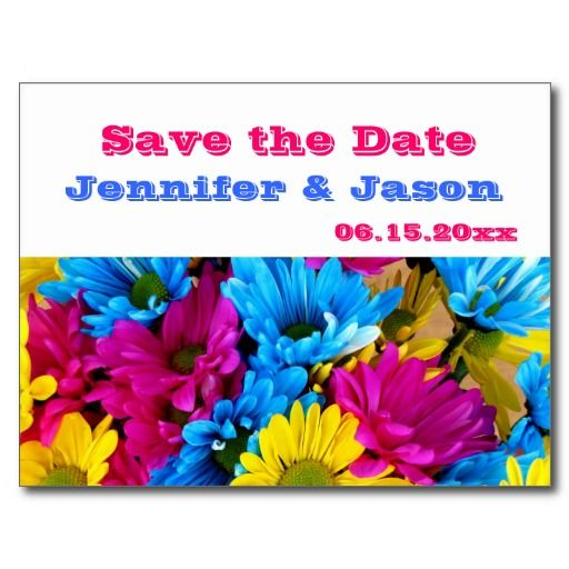 Bright Colorful Gerber Daisy Bouquet Save the Date Post Card
