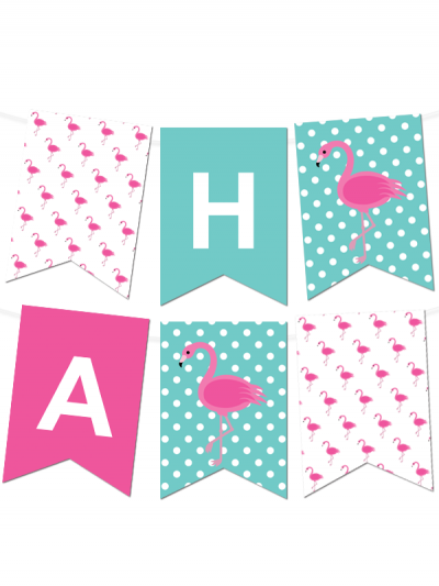 graphic about Printable Banner Maker titled Flamingo Polka Dot Pennant Banner No cost Printables - Totally free