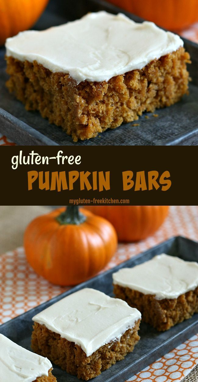 Glutenfree Pumpkin Bars with Cream Cheese Frosting Recipe This is my goto fall potluck recipe The Effective Pictures We Offer You About Gluten Free candy A quality pictur...