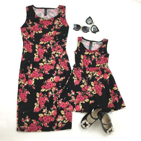 1cfebb444be Twinning Mother Daughter Dresses Summer Girl Floral Princess Dress Clothes  Outfit