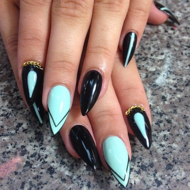 Black And Mint Green Stiletto Nails Fashion Nails Nails Mint Nails