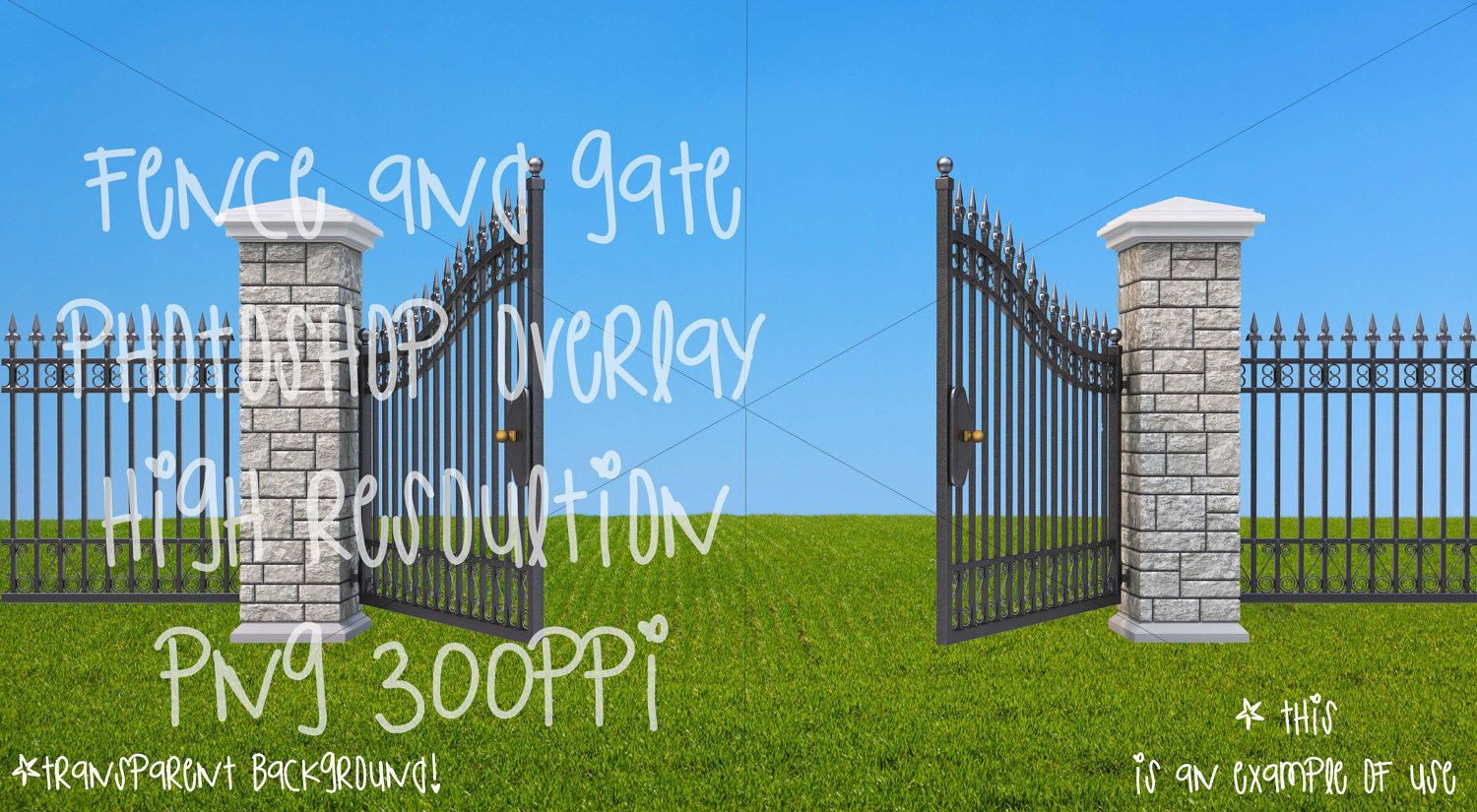 Fence and gate transparent overlays for Photoshop by