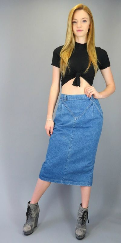 c407353043 Vintage 80s 90s High Waisted Jean Midi Skirt Pleated V Front Denim Pencil  Skirt Fitted Below the Knee Hipster Normcore Grunge High Waist Retro Blue  Jean ...