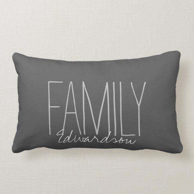 Modern dark gray family name Family Lumbar Pillow