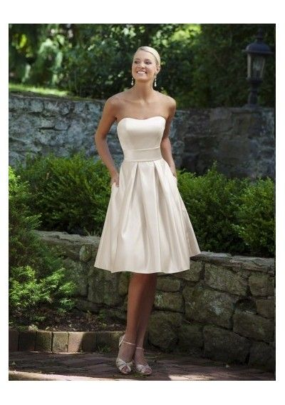 Satin Strapless Neckline Draped Knee-Length A-Line Style 2011 Hot Sell Dress P-0564