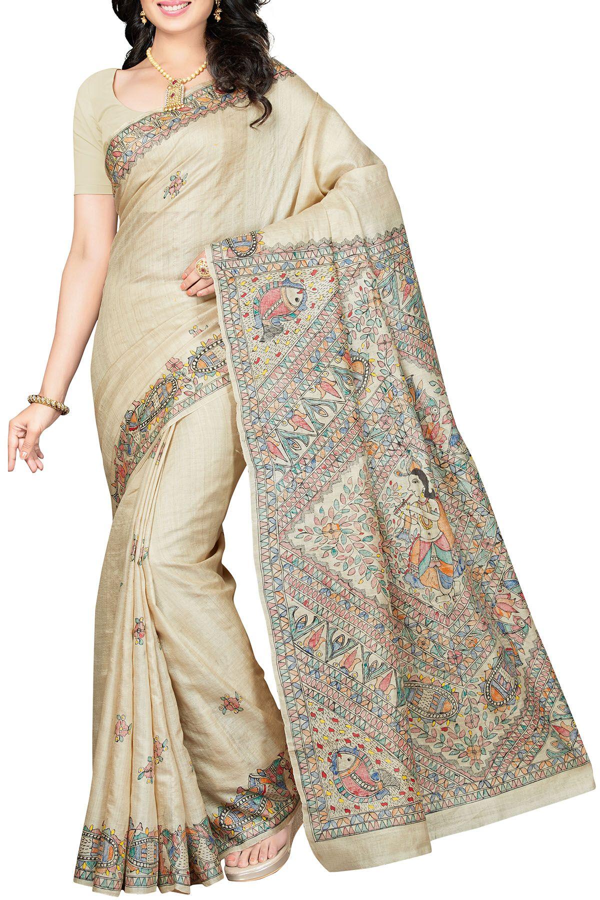 Off white tussar silk saree pin by ethnickart on madhubani sarees  pinterest  silk sarees