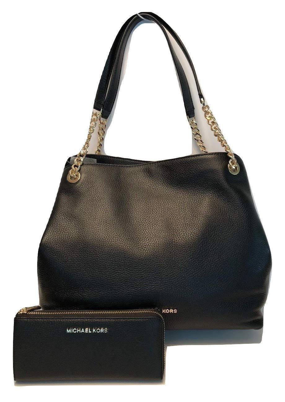 b29493b2b69318 Michael Kors Jet Set · Big · Shoulder Bag · Pocket · Black Leather Satchel, Leather  Totes, Zip Wallet, Purses And Handbags, Leather Interior