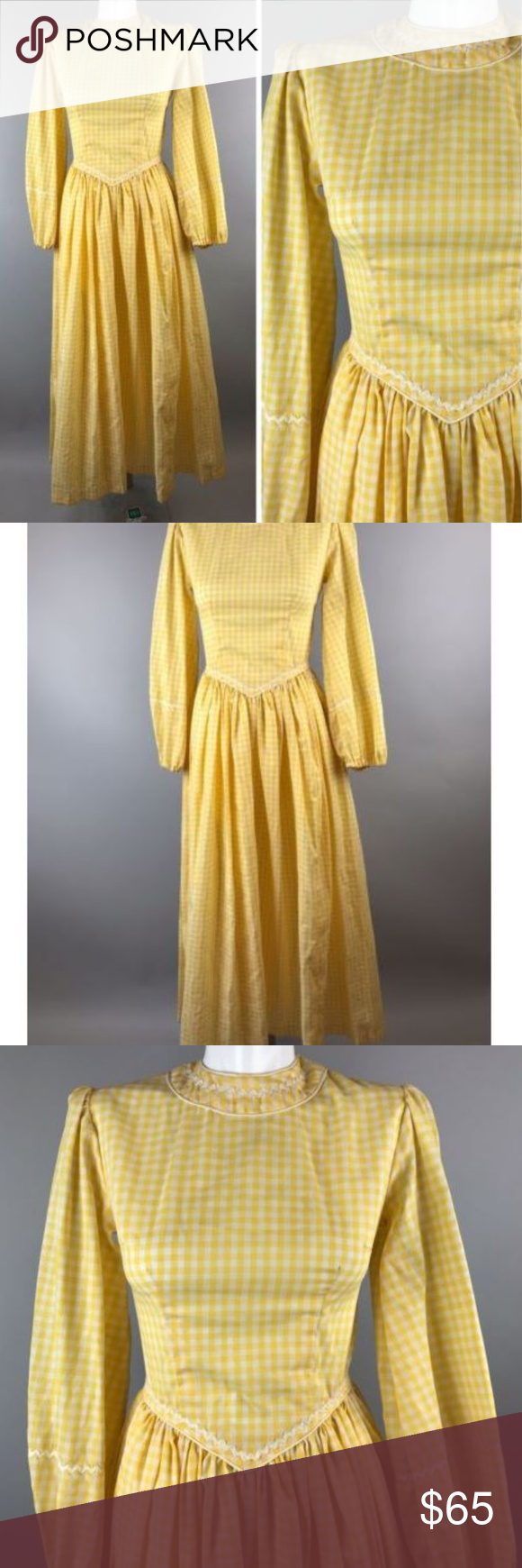 Vtg s yellow gingham check dress basque waist in my posh