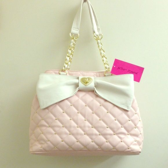 Pink White Bow Gold Studs Betsey Johnson Purse NWT   Betsey ...