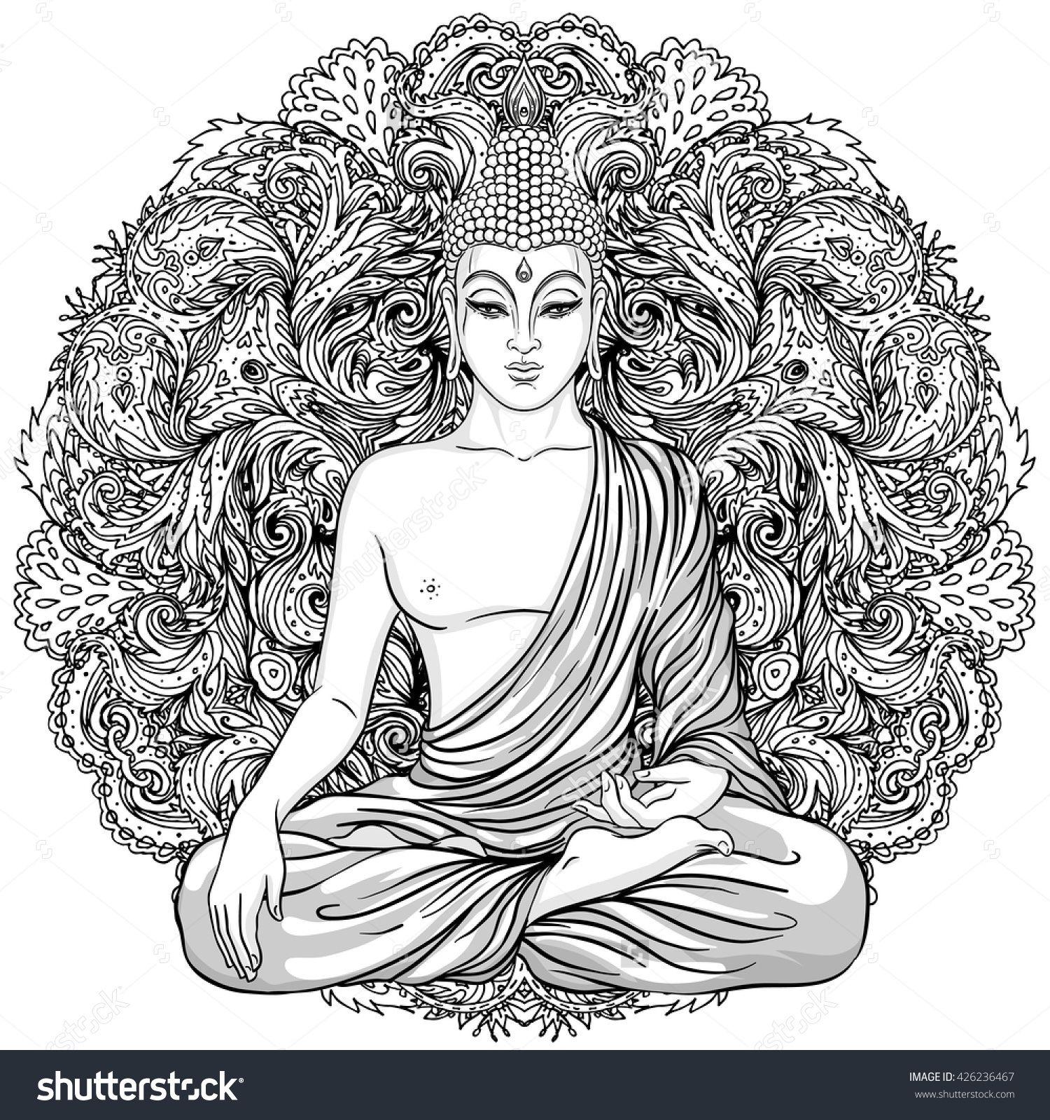 stock-vector-sitting-buddha-over-ornate-mandala-round-pattern-esoteric-vintage-vector-illustration-indian-426236467.jpg (1500×1600)