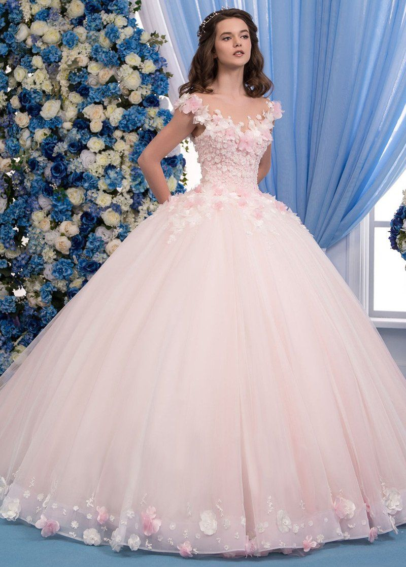 Exquisite Tulle Sheer Jewel Neckline Ball Gown Wedding Dress With Lace Appliques & 3D Flowers & Beadings #tulleballgown