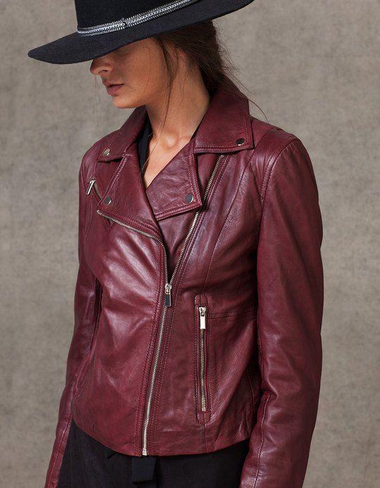elegir original mejor online tienda de descuento Cazadora biker piel - CHAQUETAS - MUJER | Stradivarius ...