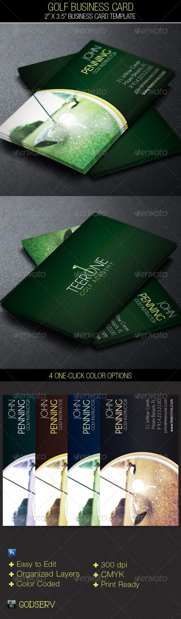 Golf Business Card Template | Card templates, Business cards and Golf