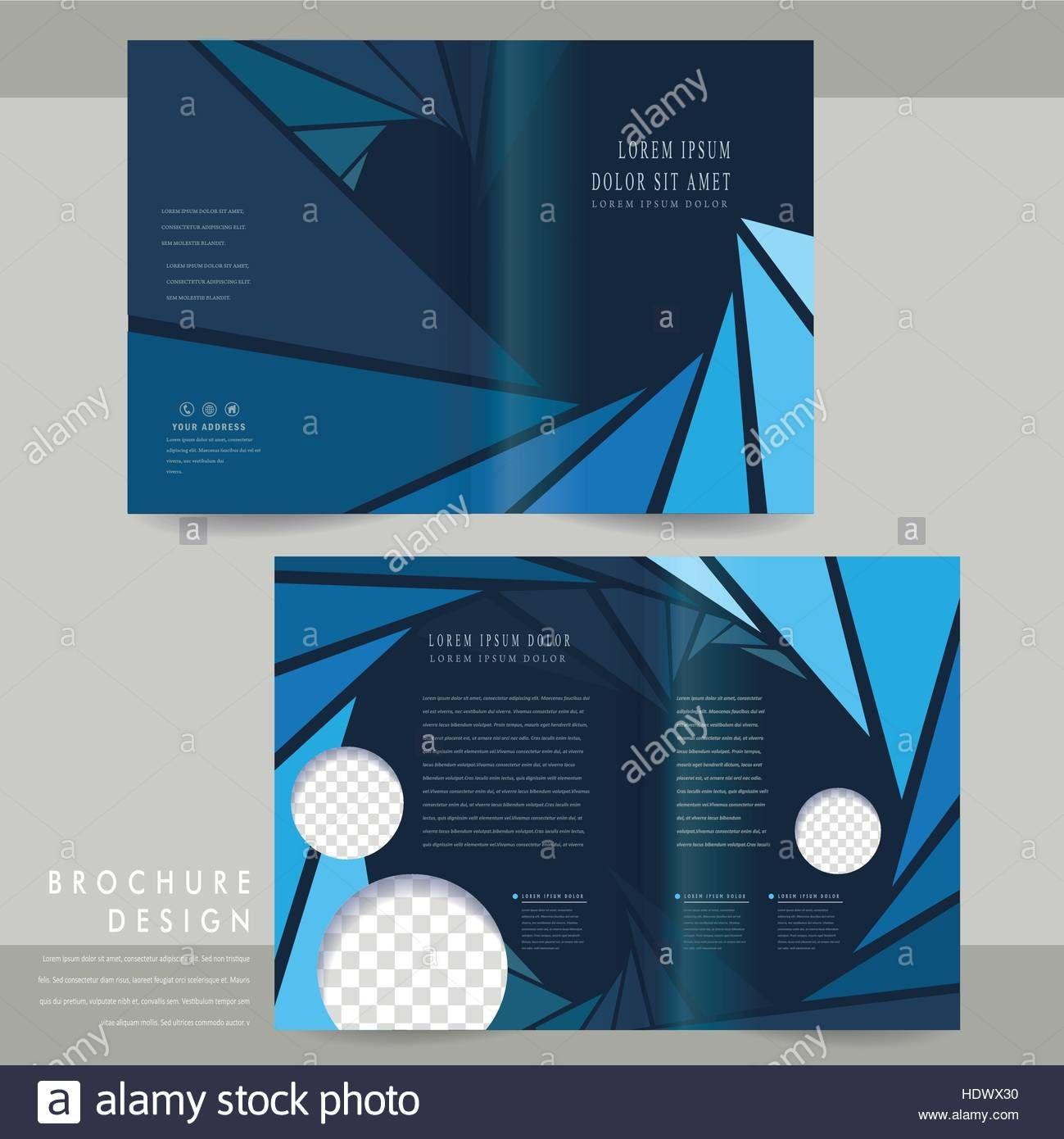 Modern Half Fold Brochure Template Design In Blue Stock Throughout Half Fold Card Template Brochure Design Template Brochure Template Free Brochure Template