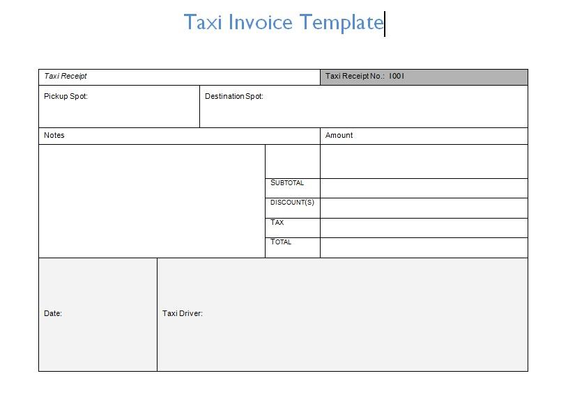 Taxi Invoice Template Invoice Template Invoice Template Word Receipt Template