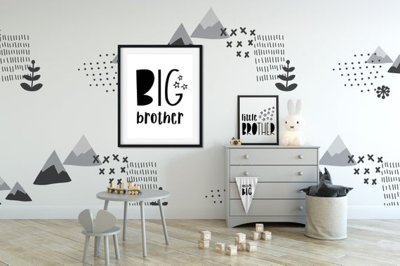 Big Brother Little Brother Wall Art Instant Download Etsy In 2020 Wall Decor Bedroom Boy Room White Wall Bedroom