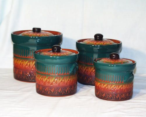 Red Earth Navajo Canister Set Southwestern Home Decor