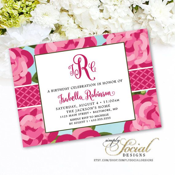 Preppy roses monogram birthday party invitation designer inspired preppy roses monogram birthday party invitation designer inspired printable filmwisefo