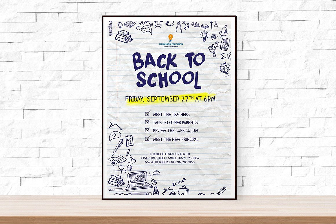 Back To School Event Flyer Template Psd  Graphic Design