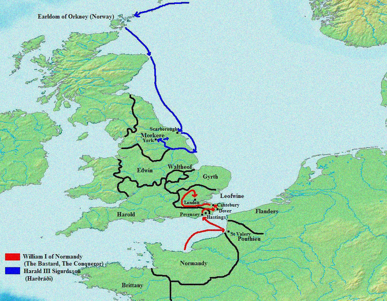 Map Of Routes Both William Of Normandys And Harald Of Norways - Norway map in english