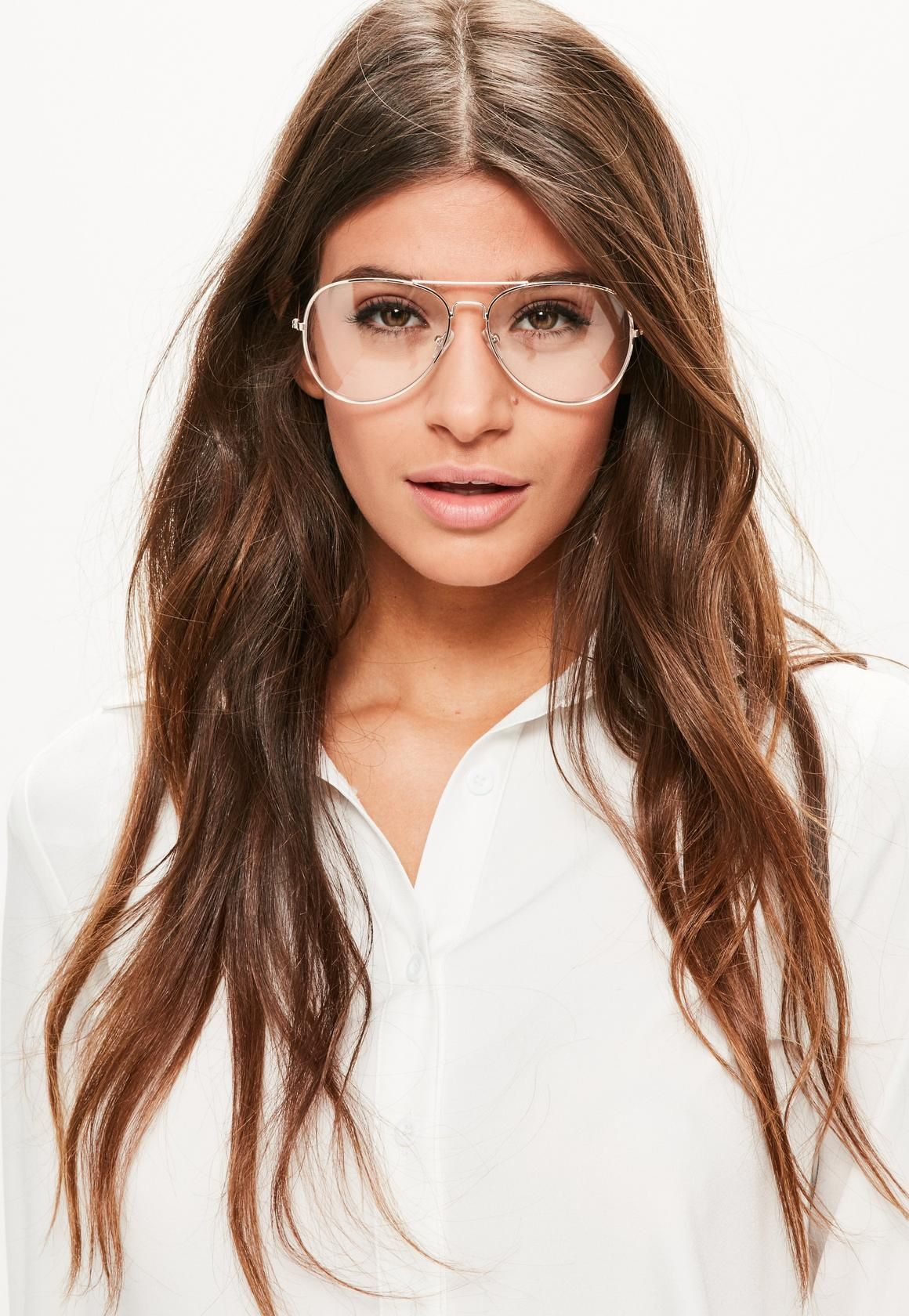 Missguided gold clear lens aviator glasses fashion