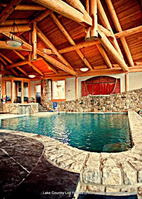 Custom handcrafted western red cedar log cabin homes - Log cabins with indoor swimming pools ...