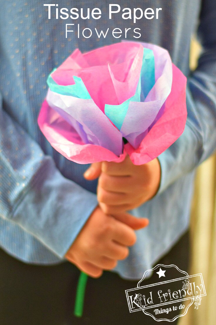 DIY Tissue Paper Flowers For Kids to Make with Pipe Cleaners #giantpaperflowers