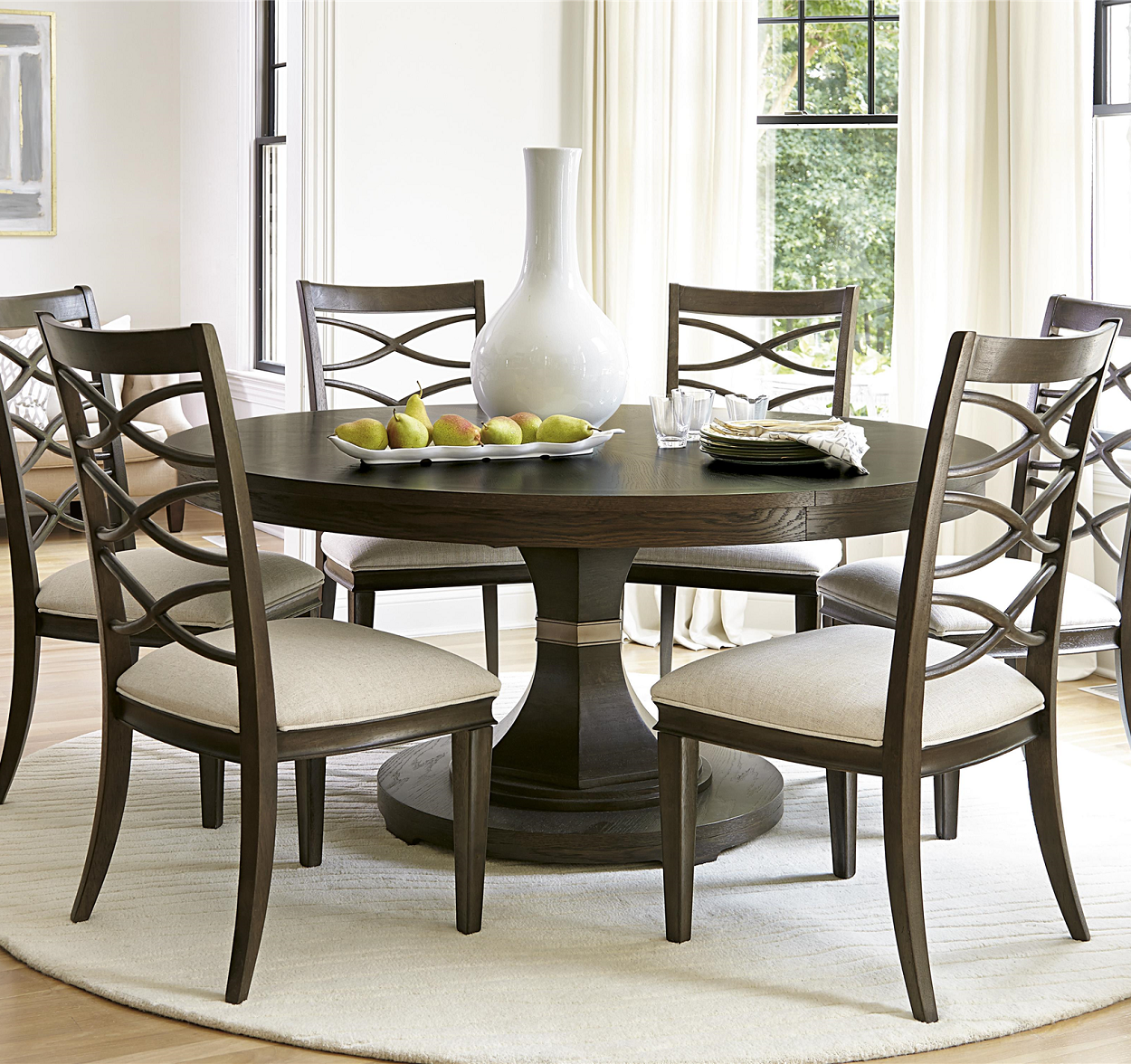 California Rustic Oak Expandable Round Dining Table Round Dining