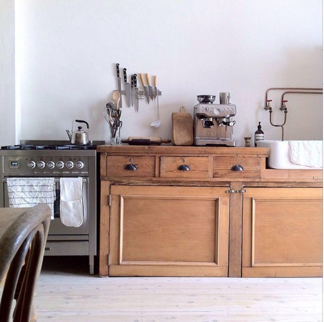 Interior old kitchen raw rustic wooden kitchen simple
